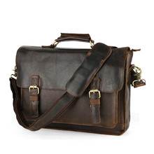Nesitu Vintage Brown Real Skin Genuine Leather Men Briefcase Cowhide Man Messenger Bags Portfolio #M515