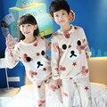 3-14 Anos Crianças Conjuntos De Pijama de Flanela Crianças Pijamas Conjunto Meninos Meninas Sleepwear Pijama Lazer Pijamas Roupas Para O Bebê meninos/Meninas