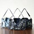 Remache de La Vendimia 3D Diseño de Moda Denim Vaqueros Muchachas de Los Bolsos Bolsos de Hombro Crossbody Bolsa de Mensajero de Las Mujeres Bolsos bolsa feminina
