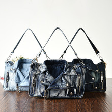 Rivet Vintage 3D Design Fashion Denim Jeans Shoulder Bags Girls Handbags Crossbody Bag Women Messenger Bags bolsa feminina