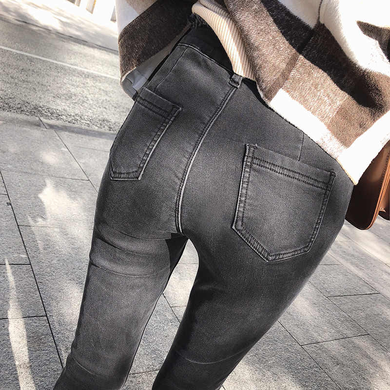 2019 MISHOW الخريف الشتاء الأزياء نمط المرأة مرونة سروال شكل قلم رصاص عالية الخصر نحيل أسود الكاحل lengh الجينز MX18D2348
