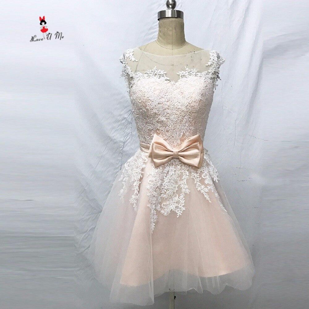 Online Shop Vintage Pink Kurzes Hochzeitskleid Spitze Brautkleider