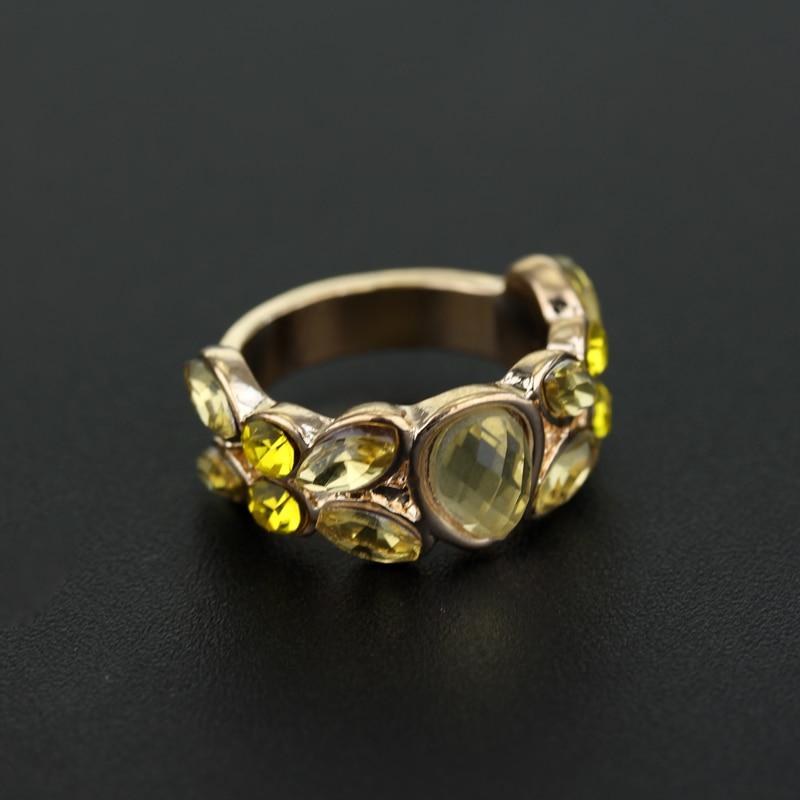 MQCHUN Finger Rings Retro Style Women Ring Crystal Rhinestone Movie Jewelry Hufflepuff School Party Wedding Gift For Ladies Girl