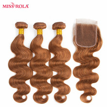 Miss Rola Hair Pre-colord Brazilian Body Wave Hair Weaving 3 Bundles With Closure #30 Color 100% Human Non-Remy Hair Extensions