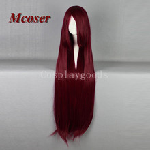 Mcoser Women's Cosplay 100CM Long Wine Red Mixed Straight Lolita Synthehic Hair Party Full wig Fashion Wig