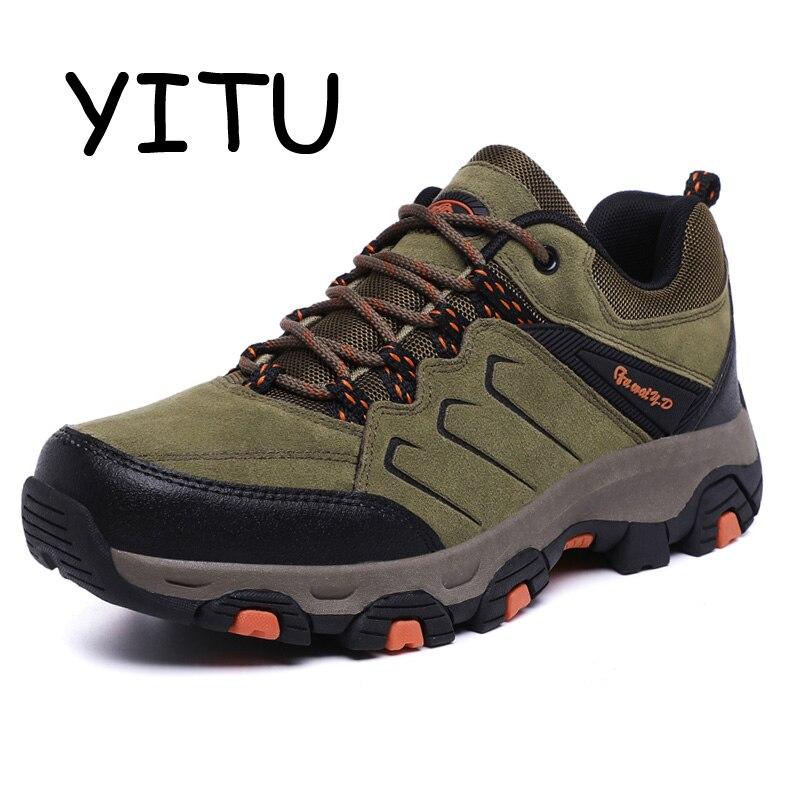 YITU 2018 bottes de randonnée en cuir pour hommes chaussures de plein air respirantes chaussures de randonnée imperméables pour hommes chaussures de montagne pour hommes marque