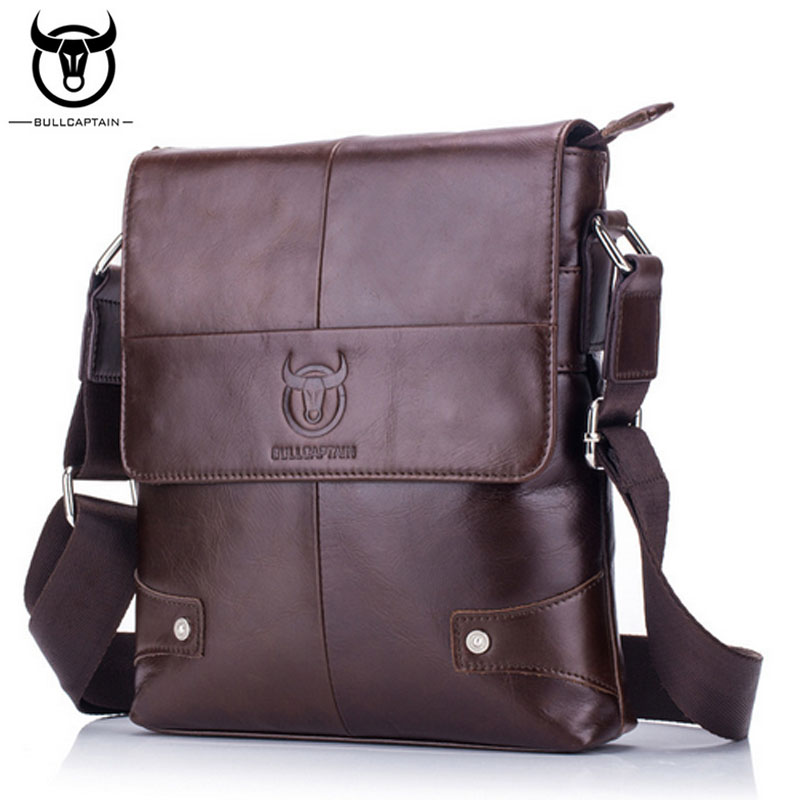 BULL CAPTAIN Men briefcase Bag Genuine Leather Man Crossbody Shoulder Bag Small Business Bags Male Messenger Leather Bags