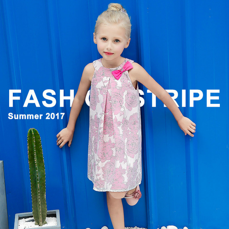 2017 Girls Dresses Summer Fashion Sleeveless Print Bow Dress Baby Girls Cotton Princess Dresses Children kid clothing 3-10Y girls floral summer dresses baby clothing girl dress print sundress children cotton clothes flower dresses sleeveless dress 4 14