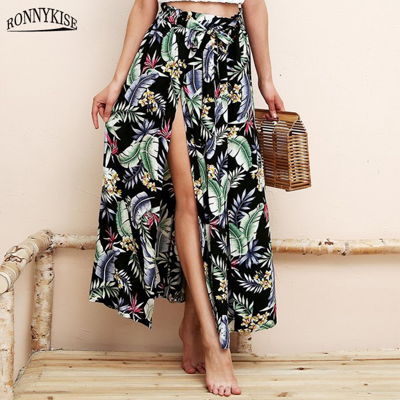 RONNYKISE High Waist Skirts Women Fashion Side Open Floral Printed Summer Casual Shirts