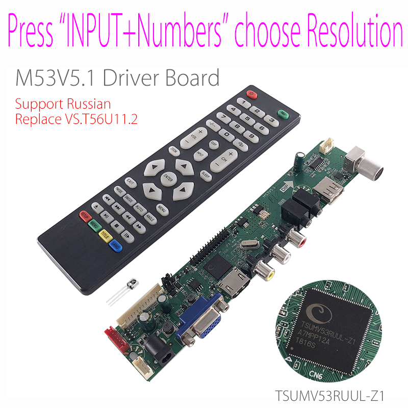 US $13 29 5% OFF|M53V5 1 Universal LCD LED TV Controller Driver Board Kit  TV/PC/VGA/HDMI/USB Interface Matrix T56 Support Russian V53RUUL Z1-in