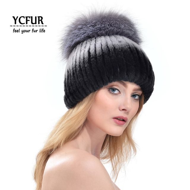 YCFUR Winter Caps Women 8 Colors Rex Rabbit Fur Winter Beanies With Silver Fox Fur Trims Pom Pom Hats Winter Skull