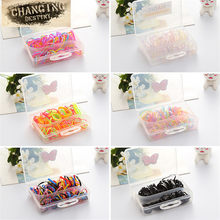 A Box of Sales Children Hair Rope Headdress Girls Baby Plate Hair Head Rope Jewelry Box Size Circle Circle Rubber Band(China)