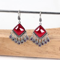 925 sterling silver ethnic earrings tassels long paragraph exaggerated ear hook