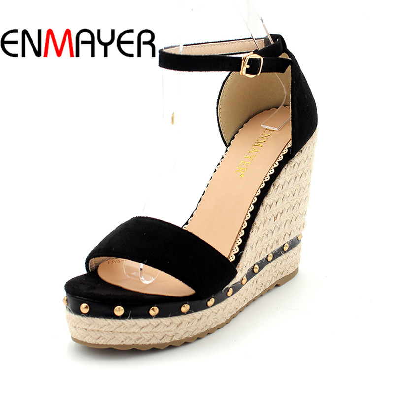 ENMAYER Womens Sandals Summer 2017 Sandals Wedges Shoes for Women High Heels Open Toe Platform Shoes
