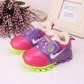 Novo Inverno de couro sapatos de desporto infantil criança do sexo Feminino e masculino e crianças esporte algodão-acolchoado sapatos menino e meninas botas de neve