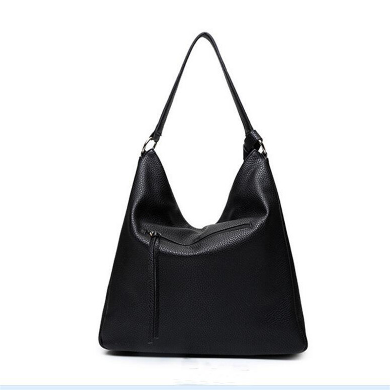 3273c6b0a3be 2017 New Hobos Women Bag Vintage Black Handbag Most Popular PU Leather  Shoulder Bag Fashion Tassel Tote Tote Bolsa Feminina-in Top-Handle Bags  from Luggage ...