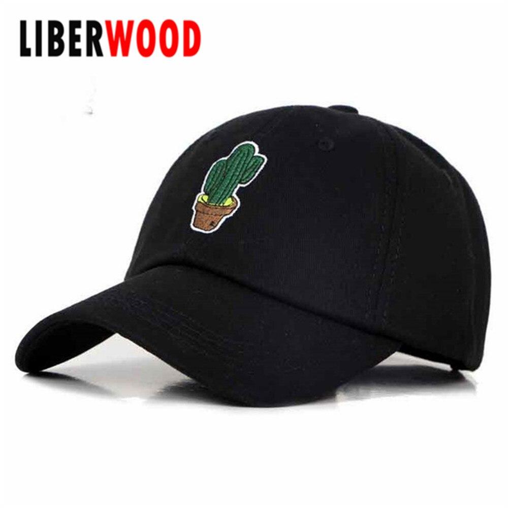 Prix pour [LIBERWOOD] hommes femmes broderie cactus coton casquette de baseball solide couleur rose chapeau casquette papa chapeau strapback snapback cap chapeaux