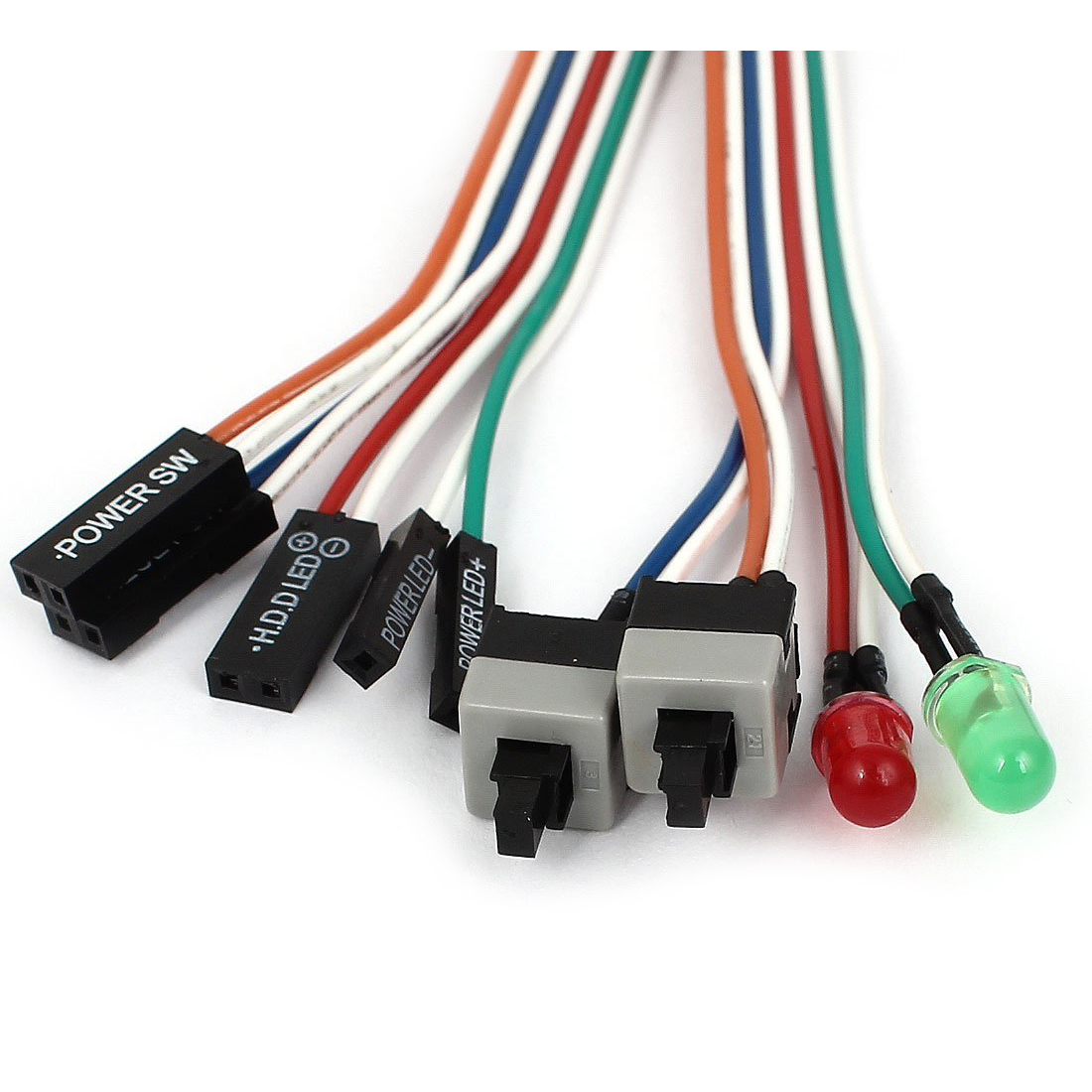 JFBL Hot PC Case Red Green LED Lamp ATX Power Supply Reset HDD Switch Lead 20