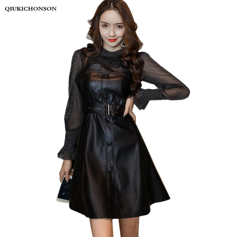 Sexy stand collar lurex see through shirt faux leather dress two piece set women single breasted ladies tunics a line dress mini