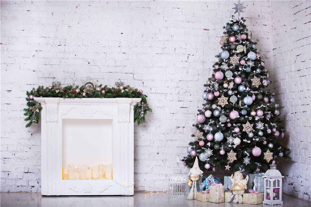 White Brick Wall Photography Props Backdrops Christmas Tree Vinyl Photo Background 7x5ft or 5x3ft Christmas105 dark brown brick wall with white clock photography backdrops wedding background 200x300cm photo studio props fotografia