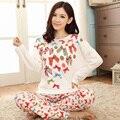 Novo 2016 outono inverno mulheres pijama de manga comprida pijamas pijamas Pastoral Floral pijama Femme Plus Size