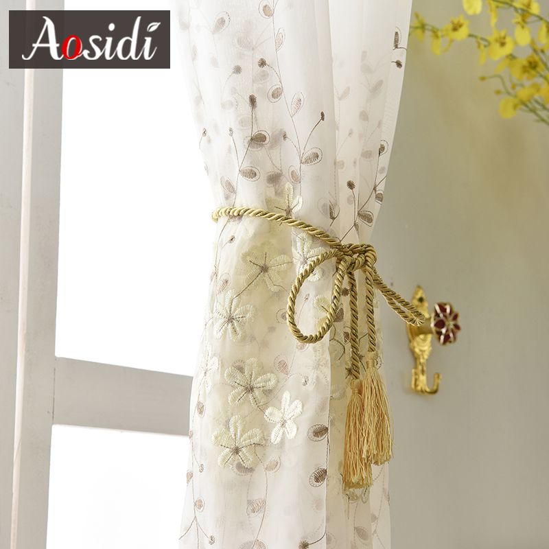 Flower embroidered tulle for living room window White embroidery voile curtains for bedroom organza curtain for kitchen blind in Curtains from Home Garden