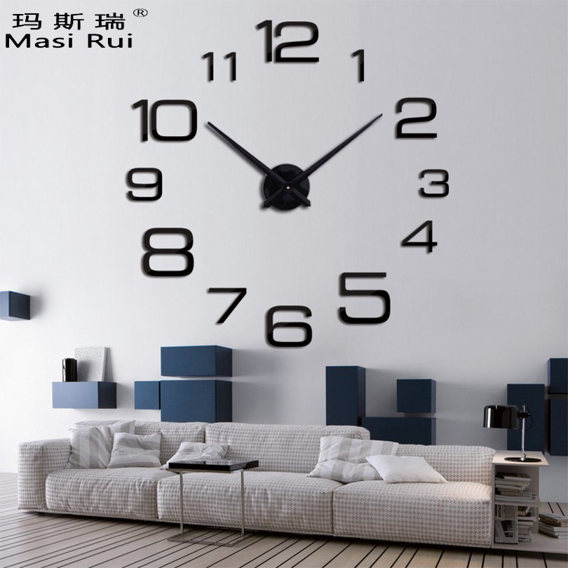 2019 new  brand big wall clock home decor Acrylic Living Room Quartz Needle wall watch diy clocks modern design free shipping