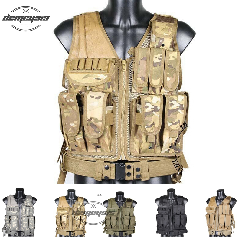 Mens Military Hunting Vest Field Battle Airsoft Molle Tactical Vest Army Combat Uniform Military Tactical Vest airsoft adults cs field game skeleton warrior skull paintball mask
