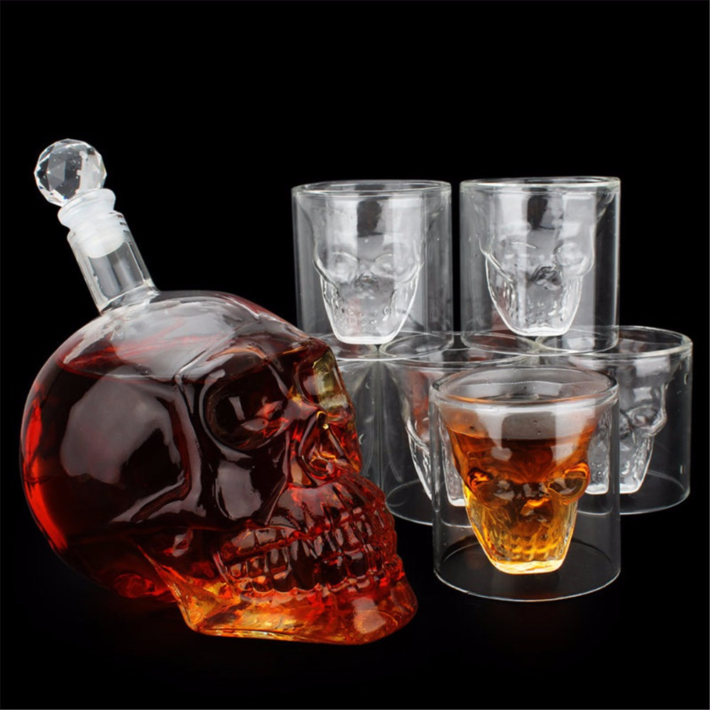 Transparent Skull Bottle Cup Set 1pc 700ml Crystal Glass Bottle Decanter with 6pcs 75ml Head Shot