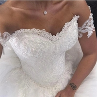 Lover Kiss Vestido De Noiva 2019 Romantic Sweetheart Lace Ball Gown Wedding Dresses Pearls Crystal Puffy Bridal Gown New Design