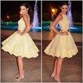 Charme Curto Prom Dresses 2016 Vestido De Festa Apliques de Renda Amarela Vestidos de Baile Venda Quente O-pescoço Vestido de Baile Custom Made