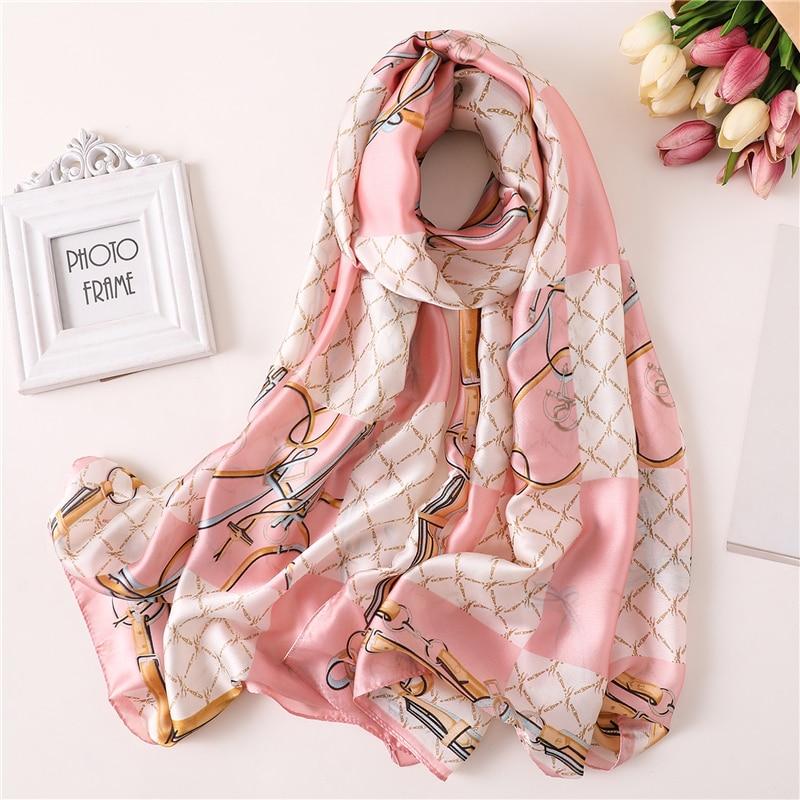 2019 designer brand women   scarf   fashion print soft silk   scarves   for lady shawl and   wrap   luxury summer pashmina foulard hijabs