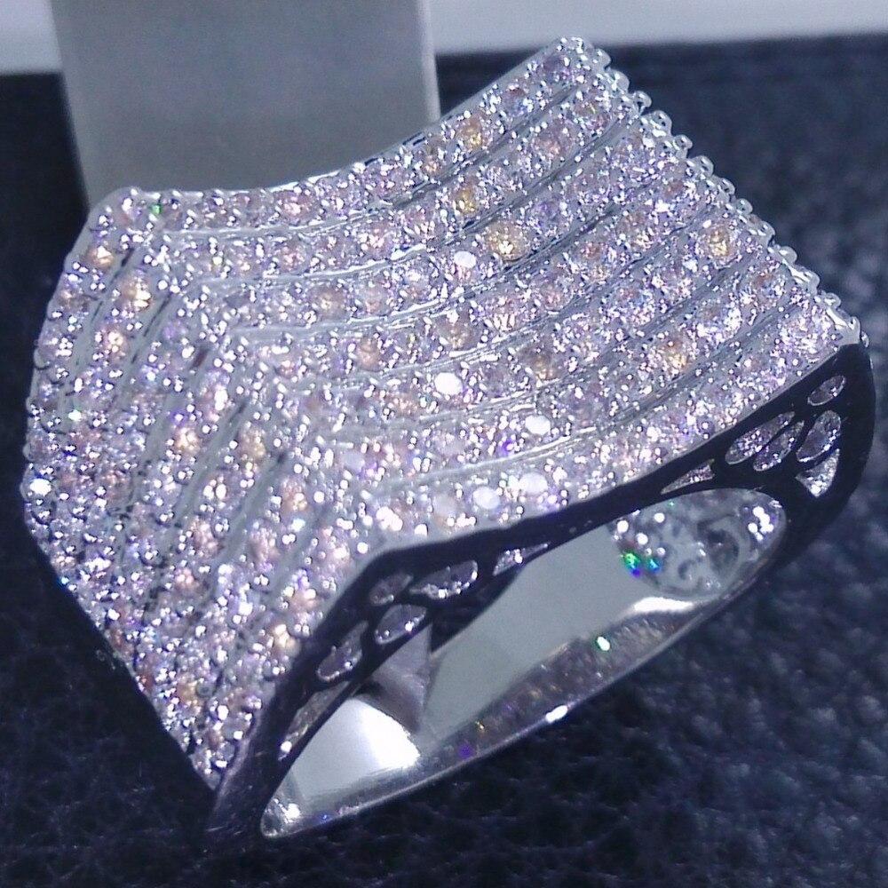 Prix pour Choucong Marque Bijoux 10KT Or Blanc Rempli 156 Pcs Pierre 5A Zircon pierre Bague De Mariage Sz 5-11 livraison gratuite