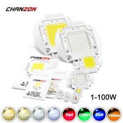 Высокомощный светодиодный чип 1 Вт 3 Вт 5 Вт 10 Вт 20 Вт 30 Вт 50 Вт 100 Вт Теплый Холодный белый красный зеленый синий желтый SMD свет шарик 1 3 5 10 20 50 100 ...
