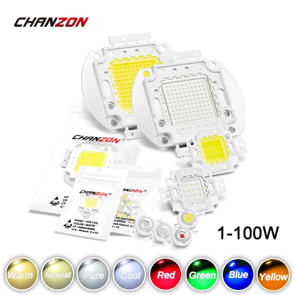 Alta potência led chip 1 w 3 5 10 20 30 50 100 quente branco frio vermelho verde azul amarelo smd luz grânulo 1 3 5 10 20 50 100 w watt