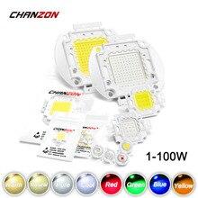 Wysoka dioda LED dużej mocy Chip 1W 3W 5W 10W 20W 30W 50W 100 W ciepły zimny biały czerwony zielony niebieski żółty światło SMD koralik 1 3 5 10 20 50 100 W wat