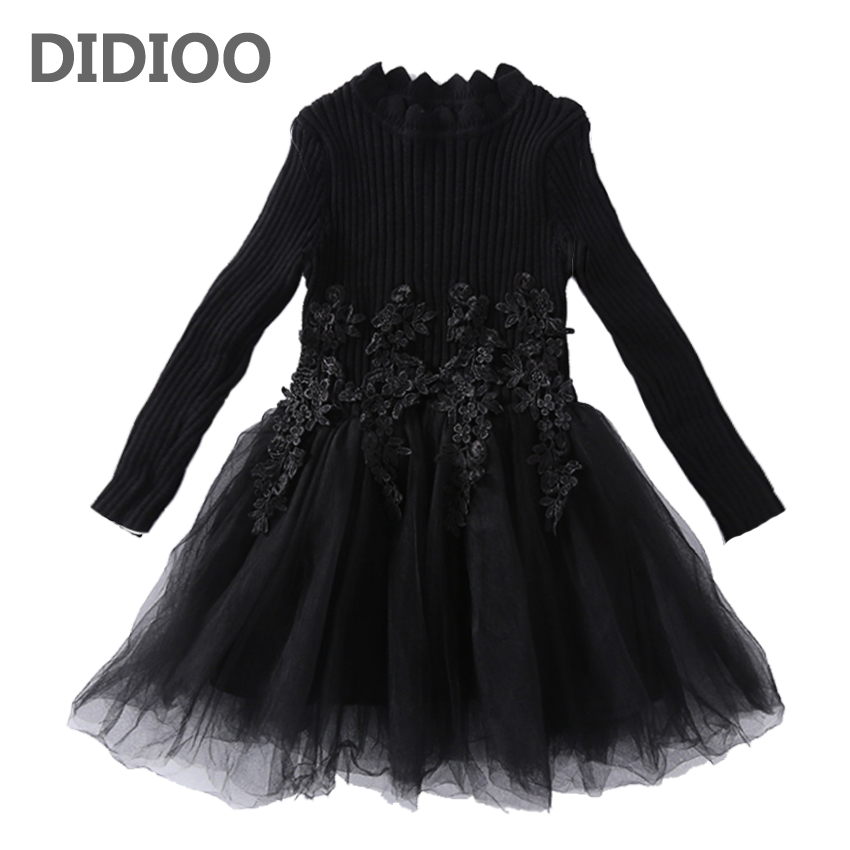 Kids Lace Dresses For Girls Vestidos Pullover Knitted Sweaters Girls Princess Party Dress 4 6 8 10 11 12 Years Students Knitwear