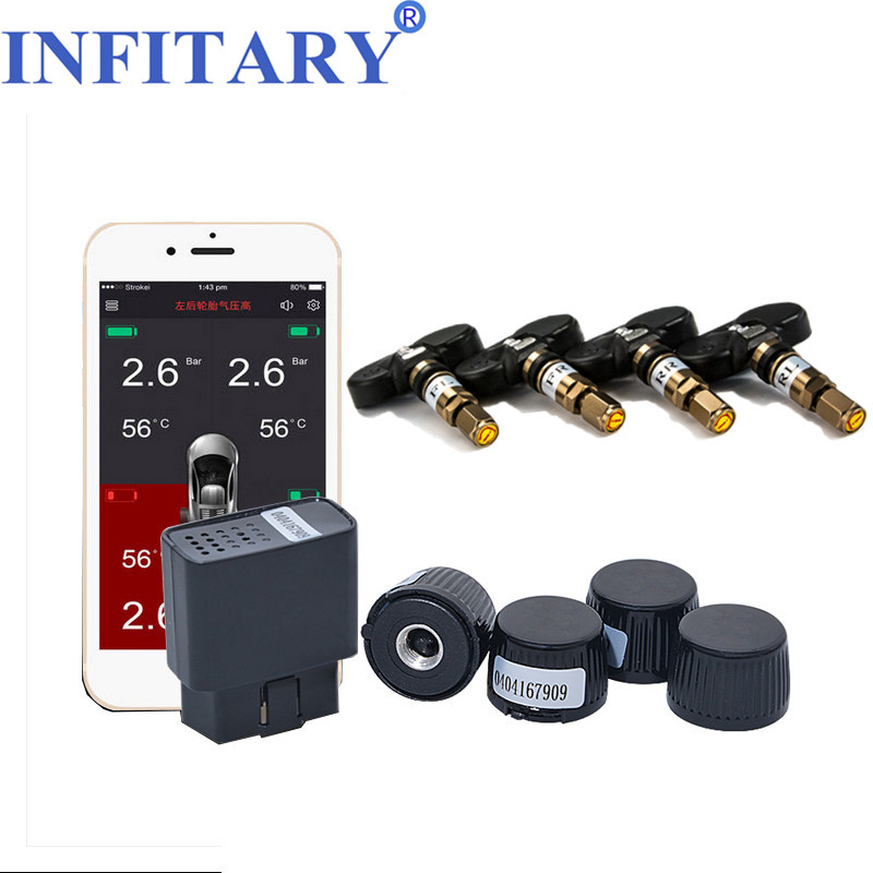 цены TPMS Bluetooth 4.0 APP Display Wireless Tire Pressure Monitor Alarm System OBD Interface Support Android iphone phone 4 sensors