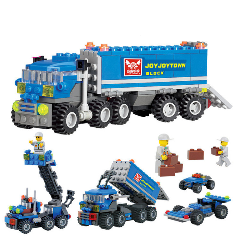 163PCS KAZI 6409 Truck Building Blocks Compatible With  City Car Brick Educational Toys For Kids Birthday Gift Brinquedo new original kazi 6409 city truck model building blocks sets 163pcs lot deformation car bricks toys christmas gift toy sa614