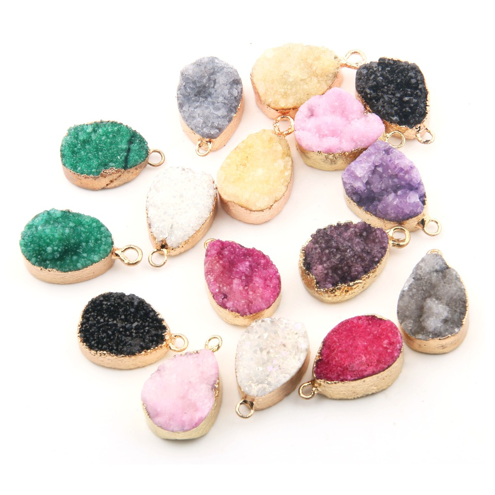 Wholesale 8 Color Water Drop Shape Crystal Natural Stone Pendant DIY For Necklace Or Jewelry Making