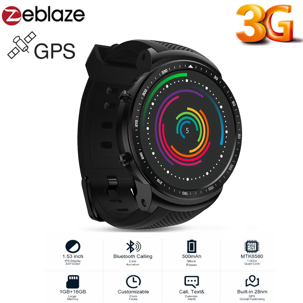 Zeblaze THOR PRO 3G Phone Android Smartwatch MTK6580 Sports Watch 1GB 16GB GPS Touch Screen Bluetooth Smart Phone Watch Men