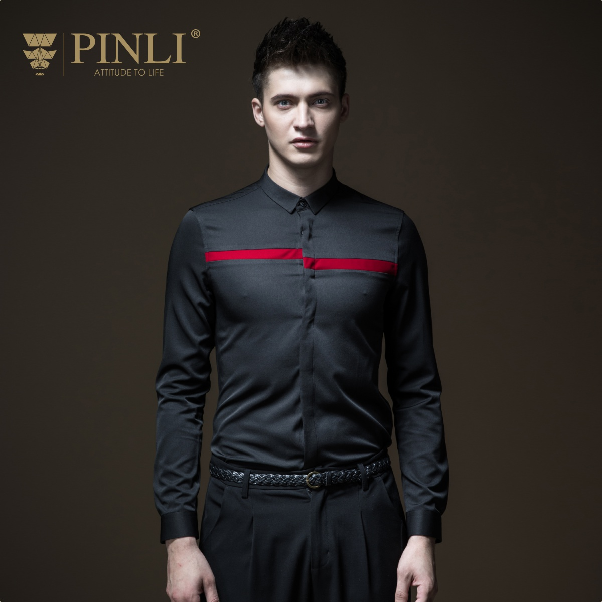 PINLI product made fall 2018 new men's cultivate morality splicing velvet coat B183313327 long sleeved shirt