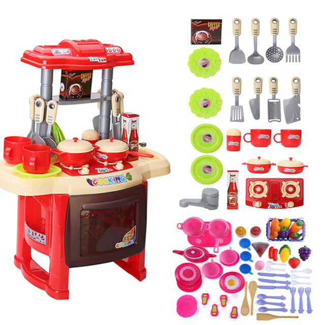 Hot Baby Miniature Kitchen Plastic Pretend Play Food Children Toys With Music Light Kids Cooking Toy Set Funny Gift