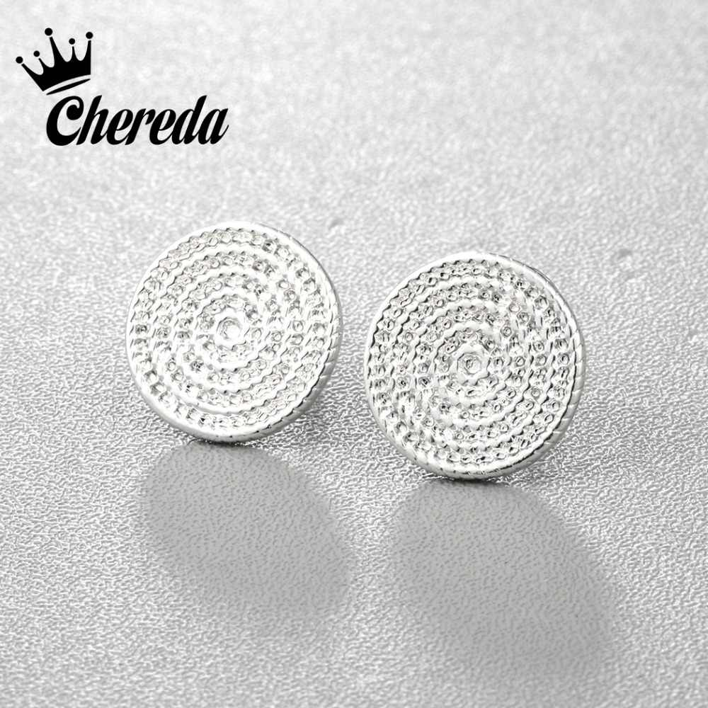 Chereda Coiled up Rope Round Stud Earrings Silver Gold Color Fashion Women Men Simple Round Shape Earing Fine Accessories