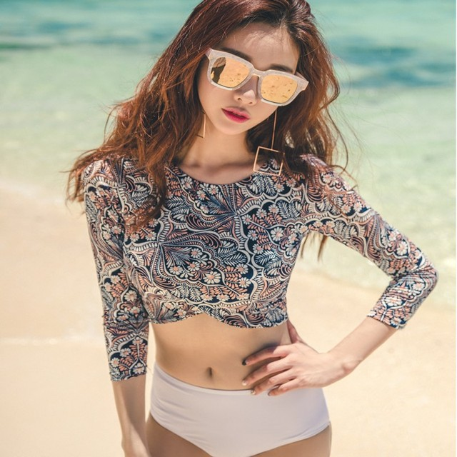 9f4537d45fb08c 2018 Summer Spring Sexy Long Sleeve Bikini Crop Tops Bikinis Set Mid Waist  Bath Suit Vintgage Beachwear Swim Wear for Ladies