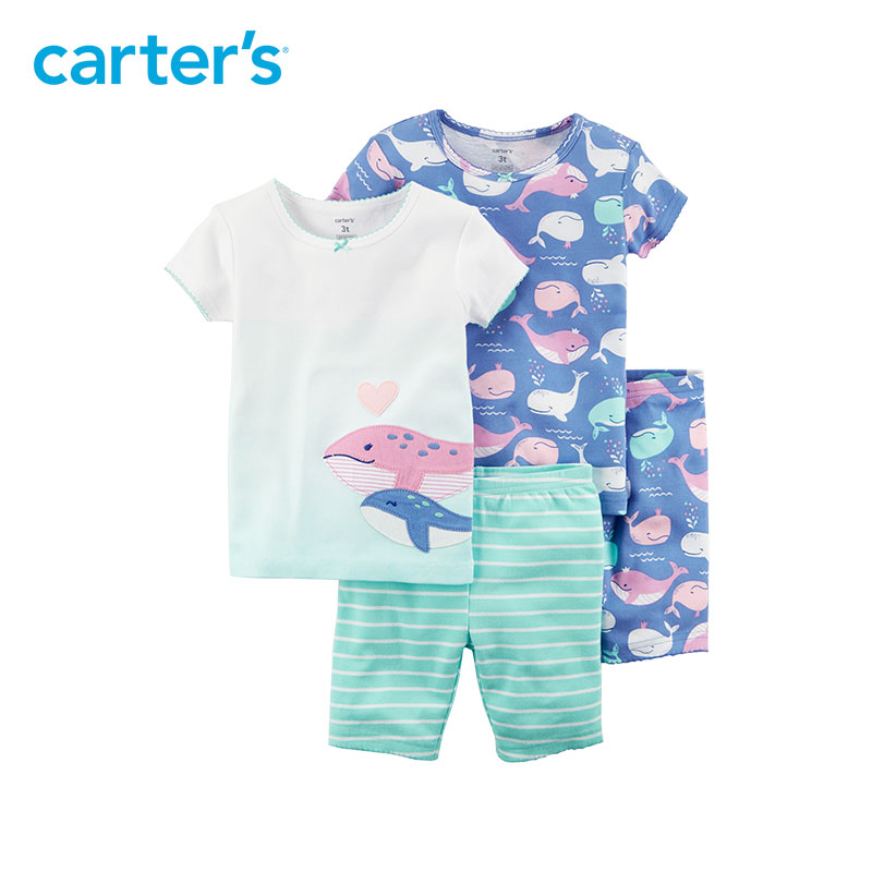 4pcs Whales stripes Cotton Pajamas clothing sets Short sleeves Carter's baby children kids Girl Summer 23243418 black white stripes flamingos short sleeves top solid pink ruffle short summer outfit girls boutique clothing with accessories