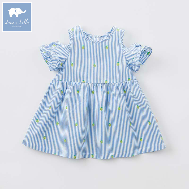 DBM7431 dave bella summer baby striped high quality clothes infant toddler lovely costumes children short sleeve girls dress