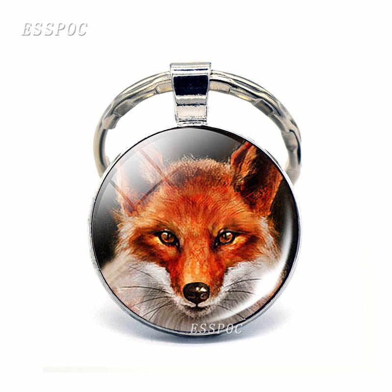 Bonito vermelho raposa pingente chaveiros de vidro cabochão jóias dos desenhos animados chaveiro adorável pingente de prata arte fivela chave meninas presentes