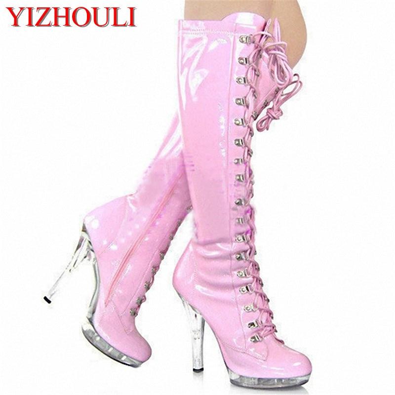 d7b869523 الكلاسيكية مثير جولة تو الدانتيل متابعة الأسود pu منصة الأحذية جنسي ارتياد  13 سنتيمتر عالية الكعب 5 بوصة سيدة الأزياء عالية الكعب الأحذية