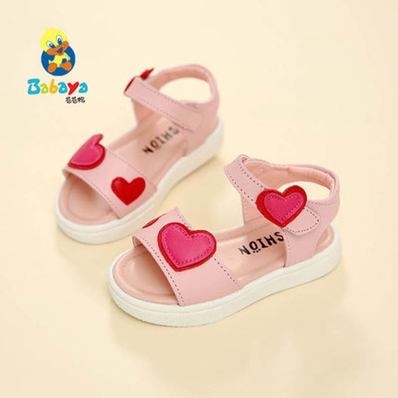 2017 Babaya Children Sandals Girl PU Leather Princess Shoes Kids Beach Sandals Baby Toddler Shoes Open toe Love Heart Infant 25 baby girls princess shoes kids children princess shoes baby girl first walkers flower toddler infant shoe baby kids shoes